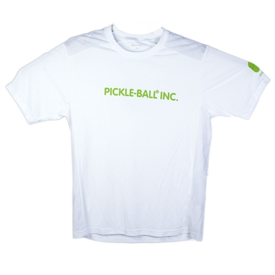 "Sport-Tek Men's DriFit T-Shirt accented with green Pickle-Ball Inc across the front, and the Pickleball, Inc logo on the back with ""Choose the original"" (also in green)."