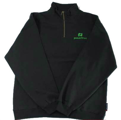 Black Pickleball, Inc. Men's 1/4 Zip Sweatshirt with the Pickleball, Inc. logo embroidered in green on the front chest.