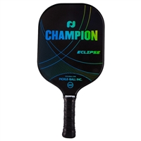 Champion Eclipse Pickleball Paddle featuring a polypropylene core and graphite face. Available in blue,or pink or red.