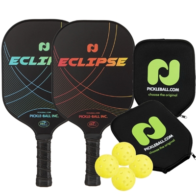 Champion Eclipse Graphite 2-Player Bundle w/Covers -  two paddles, 4 outdoor balls, and two paddle covers.