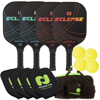 Champion Eclipse Graphite 4-Player Bundle w/Covers -  4 paddles, 4 outdoor balls, 4 paddle covers and duffel.