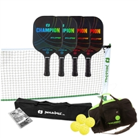 Champion Eclipse Graphite Set - includes portable lightweight net, 4 Champion Eclipse paddles (2 blue/2 red), 4 yellow outdoor pickleballs, duffel bag and rule book.