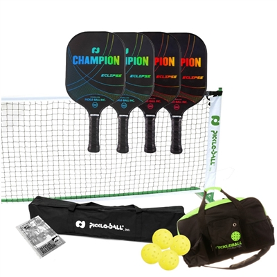 Champion Eclipse Graphite Set - includes portable lightweight net, 4 Champion Eclipse paddles (2 blue/2 pink), 4 outdoor pickleballs, duffel bag and rule book.