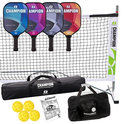 Champion Graphite X Deluxe Set includes four paddles, four outdoor balls, portable net system and duffle bag