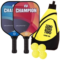 Champion Graphite X Bundles includes two paddles, four outdoor balls and a sling bag