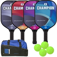 Champion Four Player Graphite X Bundle includes four paddles, four balls and duffle bag