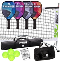 Deluxe Champion Graphite Elite Set with four paddles, balls, storage bag, portable net system & rule book