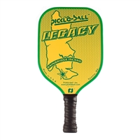 "Classic Legacy Pickleball Paddle featuring an image of Bainbridge Island accented by the words ""Pickle-ball"" and ""LEGACY"". Available in green, blue, red and black with coordinating edge guard and black cushion grip."