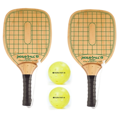 Swinger 2 Pack includes 2 wooden paddles, 2 yellow Dura Fast 40 pickleballs, and rule sheet.