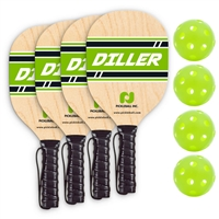 Diller 4-Player pack includes 4 wooden paddles, 4 green Jugs Bulldog indoor balls, and rule sheet.