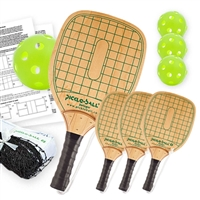 Swinger Pickleball Net Set  includes black net,  4 wooden paddles, and 4 green Jugs Indoor balls.