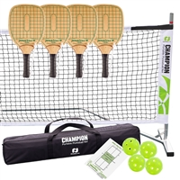 Tournament Swinger Pickleball Set 3.0  includes portable lightweight net, 4 imported wooden paddles, and 4 green Jugs indoor pickleballs.