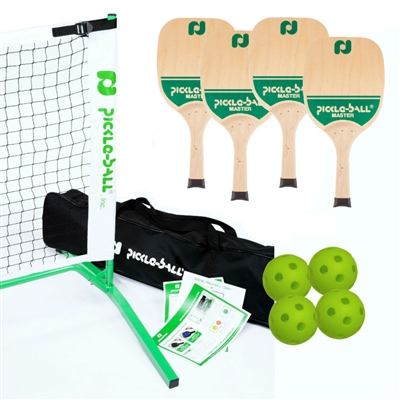 Tournament Master Pickleball Set 3.0 (USA)  includes black net, 4 wooden paddles, and 4 Jugs balls.