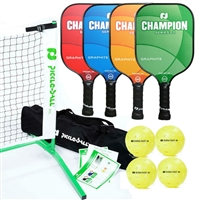 Tournament 3.0 Set-Champion Graphite - includes portable lightweight net, 4 Champion paddles (orange, blue, red and green), and 4 yellow Dura Fast 40 outdoor pickleballs.