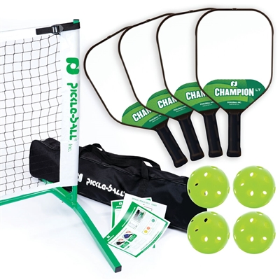 Tournament Champion LT Pickleball Set 3.0  includes portable lightweight net, 4 polymer core paddles, and 4 Jugs Indoor pickleballs.