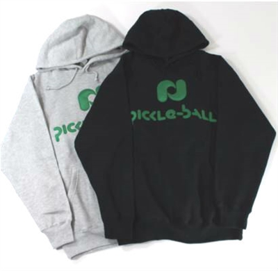 Pickleball, Inc. Sweatshirt available in either gray or black with the Pickleball, Inc. logo cross the front in green.