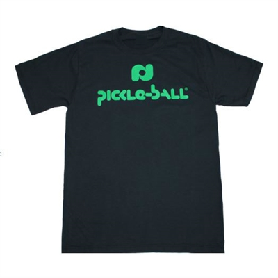 White Pickleball, Inc. Cotton T-Shirt with the Pickleball, Inc. logo across the front in green.