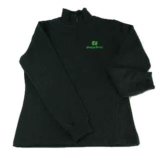 Black Pickleball, Inc. Women's 1/4 Zip Sweatshirt with the Pickleball, Inc. logo embroidered in green on the front chest.