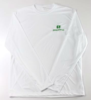 White Pickleball, Inc. Long Sleeve Dri-Fit Shirt with the Pickleball, Inc logo embroidered in green on the front left chest.