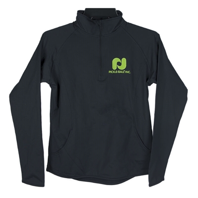 Black Pickleball, Inc. Sport-Tek Ladies 1/2 Zip featuring the Pickleball, Inc logo in upper left chest and across the back of the pullover (both in green).