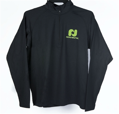 Pickleball, Inc. Sport-Tek Men's 1/2 Zip featuring the Pickleball, Inc logo in upper left chest and across the back of the pullover (both in green).