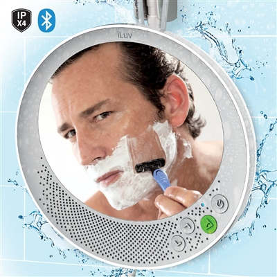 ILuv AUDSMIRRWH Shower Speaker with Anti-Fog Free Mirror