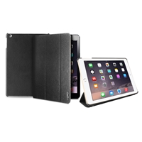 Puro Business Leather Case for iPad 6 Tumbled Booklet W/Foldable Flap Grey W/Gun Frame