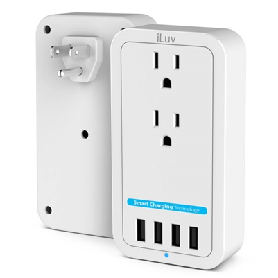 iLuv Rockwall Power 2 Outlet Wall Charger w/4 USB charging Ports