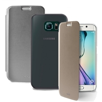 Puro Galaxy S6 Edge Eco-Leather Cover W/Horiz Flip Card Slot