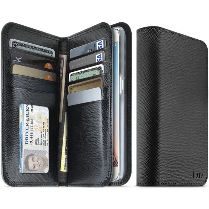 best website 5588c 038ba iLuv SS6JSTYBK Jstyle Leather Wallet Case For GALAXY S6