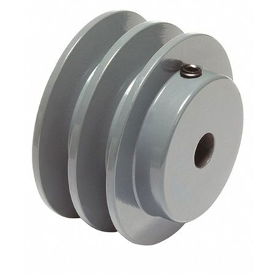 "2AK-20 1/2"" Bore Solid Sheave Pulley with 2"" OD , Hex set screws 2 grooves  for V-belts size 4L, 3L  2AK  (OD 2""- ID 1/2"")"