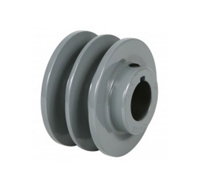"2AK25 1"" Inch Bore 2 Grooves cast iron Solid Pulley with OD 2.5"" inch ID 1"" Inch for V-belts  size 4L, 5L"