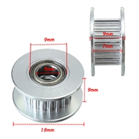 20T 5mm Bore 6mm GT2 Belt Smooth Idler Pulley Aluminum W/Bearing for 3D Printer​