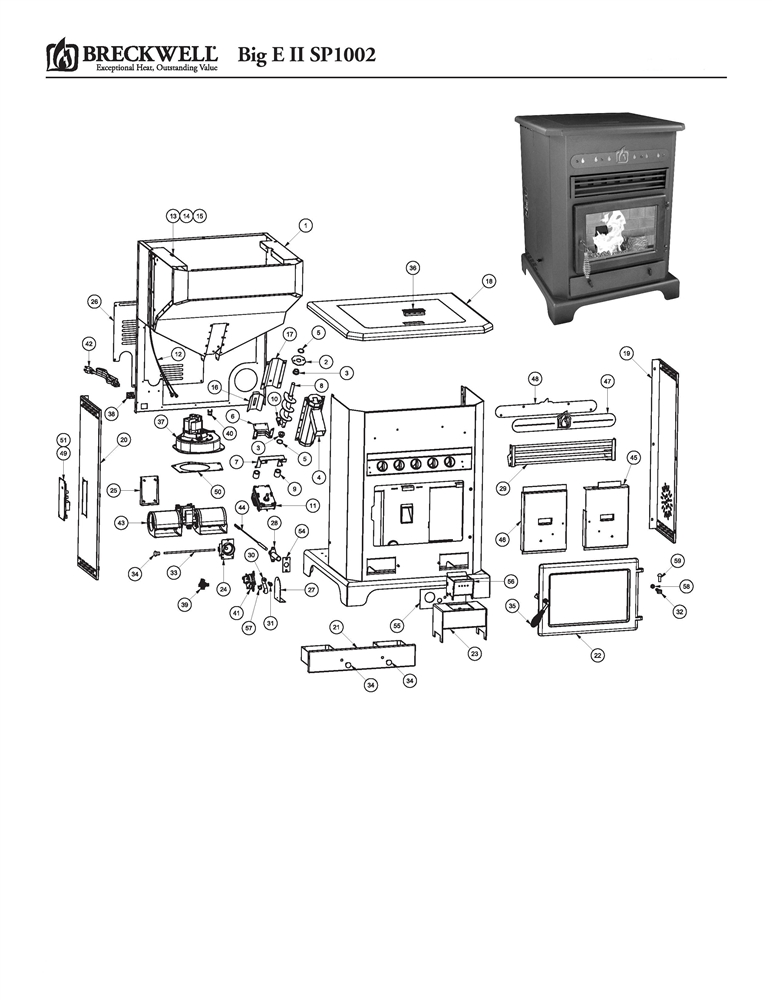 breckwell pellet stove big e ii sp1002 parts