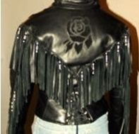 31314caee Women's Red Rose Leather Jacket with Fringe & Beads