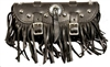 Large Black Leather Tool Bag with Studs, Concho and Fringe
