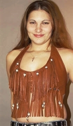 Deerskin Leather Fringe Halter Top