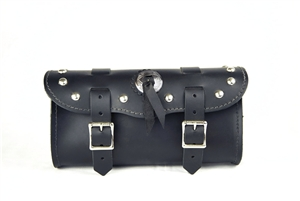 Small Black Leather Tool Bag with Studs and Concho