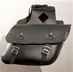 Slanted Black Leather Saddle Bags