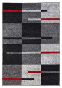 Diamond Squares Rug - Grey & Red