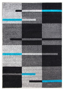 Diamond Squares Rug - Grey & Teal