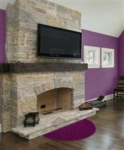 purple half moon fireplace rug