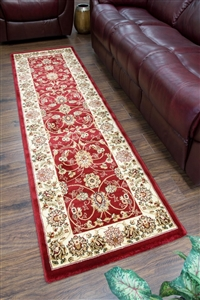 Cotswold Traditional Red Green Runner Rug - 2412