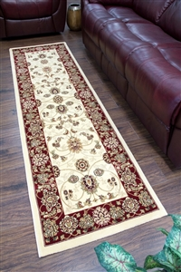 Cotswold Traditional Cream Red Runner Rug - 2412