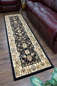 Cotswold Traditional Black Runner Rug - 2412
