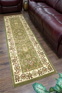 Cotswold Traditional Cream Green Runner Rug - 2412
