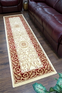 Cotswold Traditional Red Cream Runner Rug - 2412