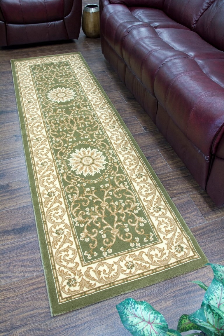 Cotswold Traditional Green Cream Runner Rug 7519