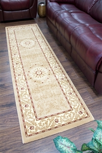 Cotswold Traditional Gold Cream Runner Rug - 2412