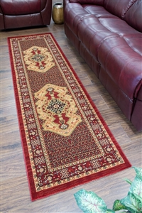 Cotswold Traditional Red Runner Rug - 9009